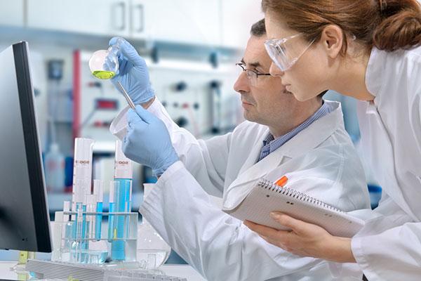Mitarbeiter im Labor bei der Untersuchung.